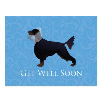 Gordon Setter Silhouette Get Well Soon Postcard