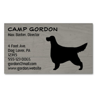 Gordon Setter Silhouette Wood Style Business Card Magnet