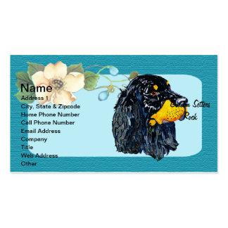 Gordon Setter - Turquoise Floral Design Business Card Template
