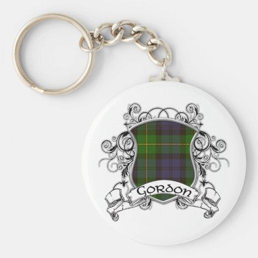 Gordon Tartan Shield Basic Round Button Keychain