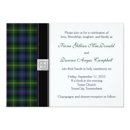 Gordon Tartan Wedding Invitation Zazzle
