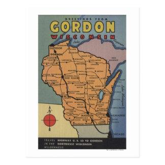 Gordon, Wisconsin - escenas grandes de la letra Postal