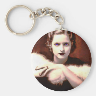 Gorgeous 1920s Woman with Intense Blue Eyes Keychain