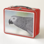 """Gorgeous African Grey Parrot Metal Lunch Box<br><div class=""""desc"""">Elongated neck and a beautiful face on this Congo African Grey Parrot against a muted pastel background.</div>"""