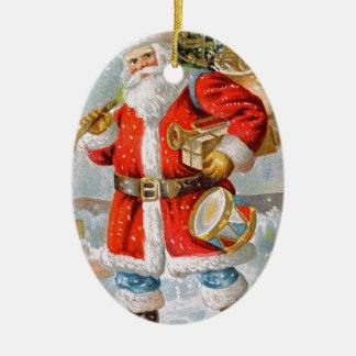 Gorgeous American Patriotic Christmas Santa Ceramic Ornament