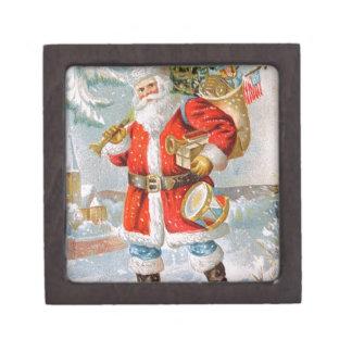 Gorgeous American Patriotic Christmas Santa Jewelry Box