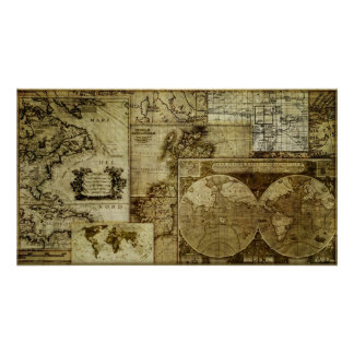 Gorgeous and Unique Vintage old world Maps Poster