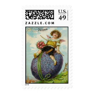 Gorgeous Antique post office Card Cupid on Easter  Postage Stamps