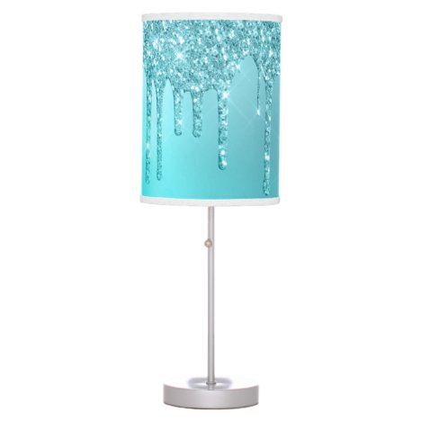Gorgeous aqua blue mint & turquoise glitter drips table lamp
