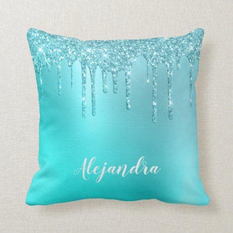 Gorgeous aqua blue mint & turquoise glitter drips throw pillow