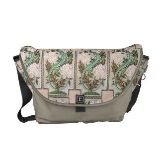 Gorgeous Art Nouveau Exotic Snake and Flowers Courier Bags