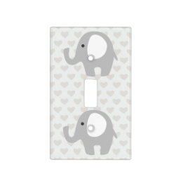 Gorgeous Baby Elephant in Neutral Gray Light Switch Cover