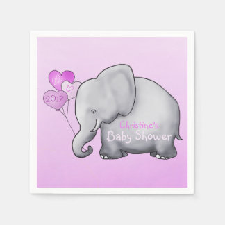 Gorgeous Balloons Elephant Pink Girl Baby Shower Napkin