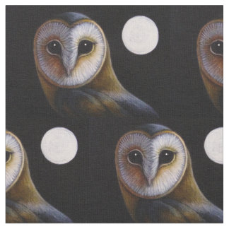 GORGEOUS BARN OWL & FULL MOON FABRIC