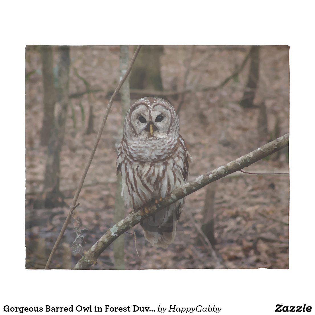 Barred Owl in Forest Duvet Cover