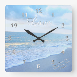 Gorgeous Beach Love Wall Clock with Your Text