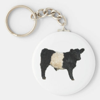 Gorgeous Belted Galloway Steer Cutout Basic Round Button Keychain