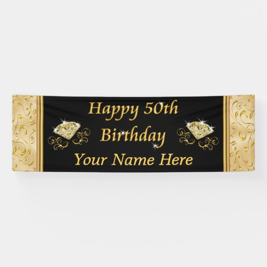 gorgeous black and gold 50th birthday banners. Black Bedroom Furniture Sets. Home Design Ideas