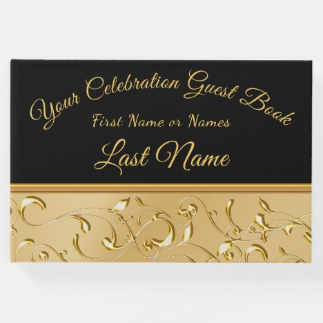 Gorgeous Black and Gold Guest Book, Personalize it Guest Book
