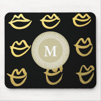 Gorgeous Black Gold Lips Mousepad for Your Office