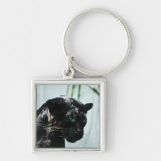 Gorgeous Black Panther Silver-Colored Square Keychain