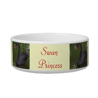 Gorgeous Black Swan on Water Cat Bowls