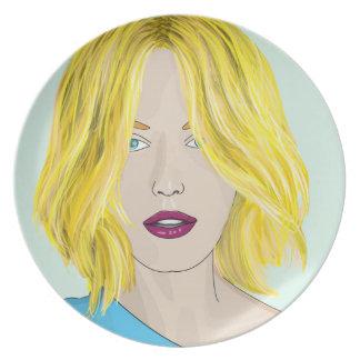 Gorgeous Blonde Woman Illustration Melamine Plate