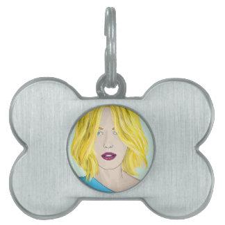 Gorgeous Blonde Woman Illustration Pet ID Tag