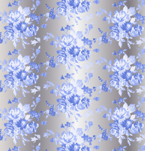 Gorgeous Blue Floral Pattern On Silver Shower Curtain