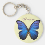 Gorgeous Blue Morpho Butterfly Basic Round Button Keychain