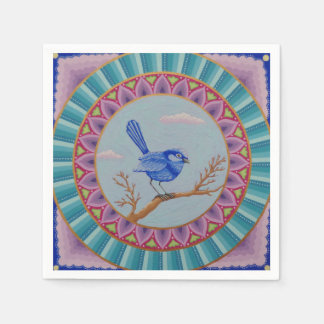 Gorgeous Blue Wren Mandala napkins