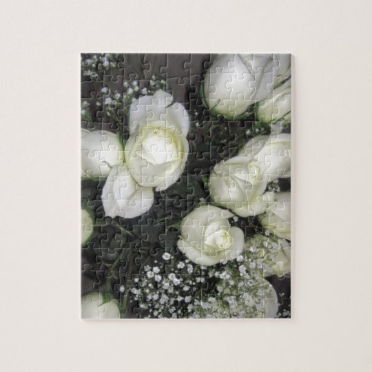 GORGEOUS BOUQUET OF WHITE ROSES JIGSAW PUZZLE