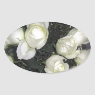 GORGEOUS BOUQUET OF WHITE ROSES OVAL STICKER
