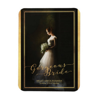 Gorgeous Bride Elegant Typography Photo Template Magnet