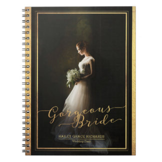 Gorgeous Bride Elegant Typography Photo Template Notebook
