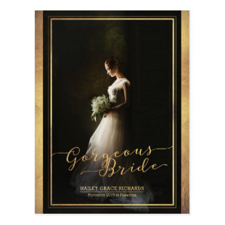 Gorgeous Bride Elegant Typography Photo Template Postcard
