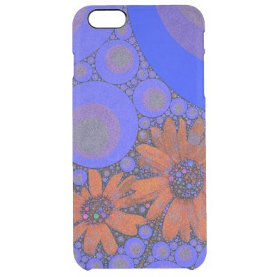 Gorgeous Bright Blue Orange Sunflowers Clear iPhone 6 Plus Case
