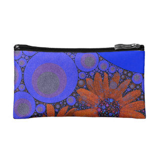 Gorgeous Bright Blue Orange Sunflowers Cosmetic Bag