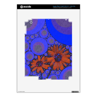 Gorgeous Bright Blue Orange Sunflowers Decals For iPad 3