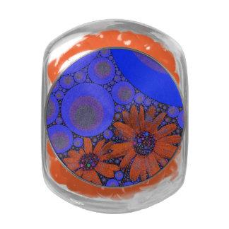 Gorgeous Bright Blue Orange Sunflowers Glass Jars
