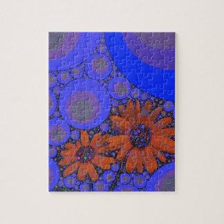 Gorgeous Bright Blue Orange Sunflowers Jigsaw Puzzle