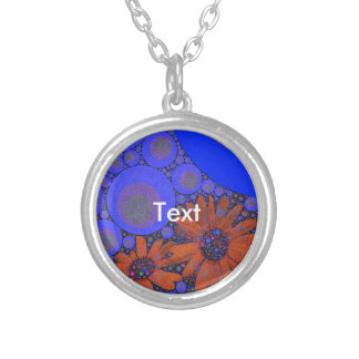 Gorgeous Bright Blue Orange Sunflowers Silver Plated Necklace