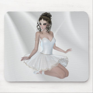 Gorgeous Brunette Ballerina in White Dress Mouse Pad