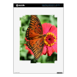 Gorgeous Butterfly on Red Zinnia Design. iPad 3 Skin