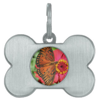Gorgeous Butterfly on Red Zinnia Design. Pet ID Tag