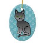 Gorgeous Cartoon Russian Blue Cat Sitting Ceramic Ornament