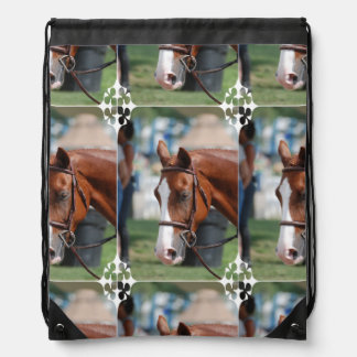 Gorgeous Chestnut Show Horse Drawstring Bags