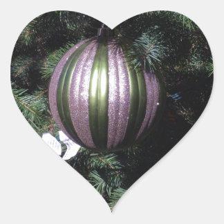 Gorgeous Christmas Ball Scene on a Tree Heart Sticker