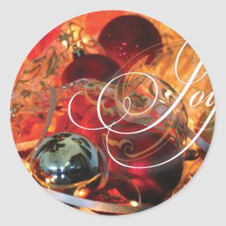Gorgeous Christmas Card JOY! Classic Round Sticker