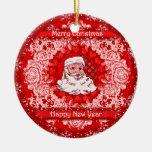Gorgeous Christmas Santa Hanging Tree Decoration Double-Sided Ceramic Round Christmas Ornament